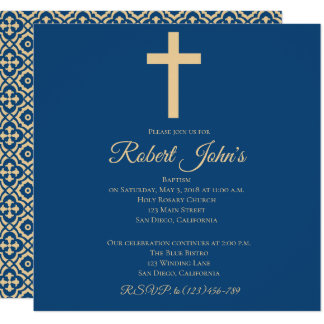 Cross and Quatrefoil Baptism Invitation