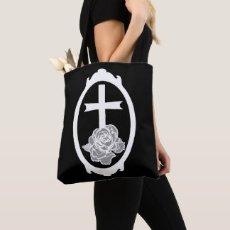 Cross and Rose Cameo Occult Art Goth Tote Bag