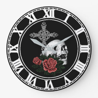 Cross and Roses Gothic Wall Clock