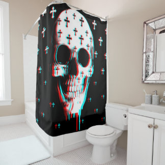 cross and skull all over print shower curtain