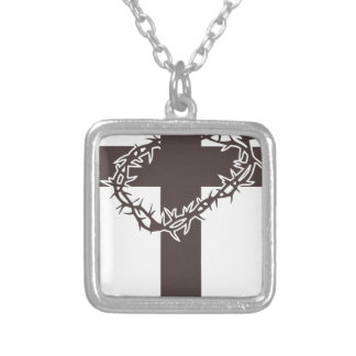 Cross And Thorns Silver Plated Necklace