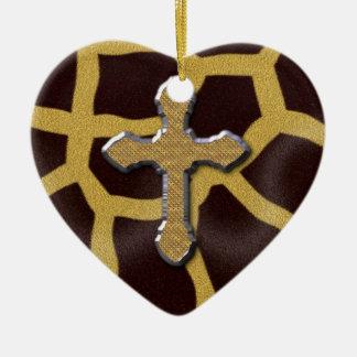 Cross Animal Print Giraffe Patern Ceramic Ornament