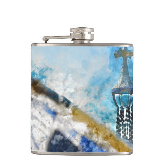 Cross at Parc Guell in Barcelona Spain Hip Flask