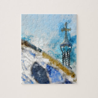 Cross at Parc Guell in Barcelona Spain Jigsaw Puzzle