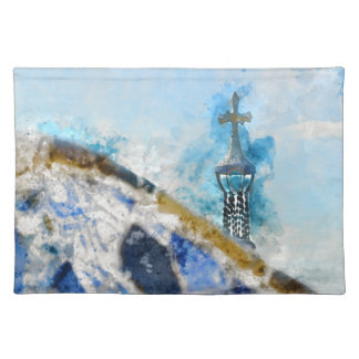 Cross at Parc Guell in Barcelona Spain Placemat