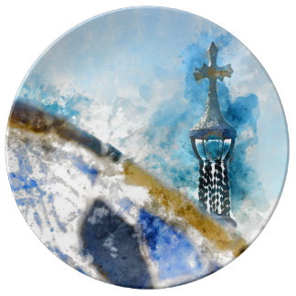Cross at Parc Guell in Barcelona Spain Porcelain Plate