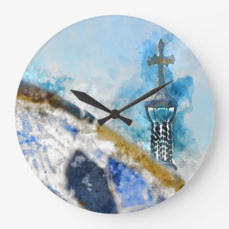 Cross at Parc Guell in Barcelona Spain Wall Clock
