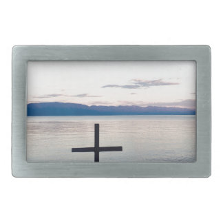 Cross at Sunset Rectangular Belt Buckles