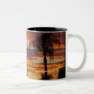 Cross At Sunset Two-Tone Coffee Mug