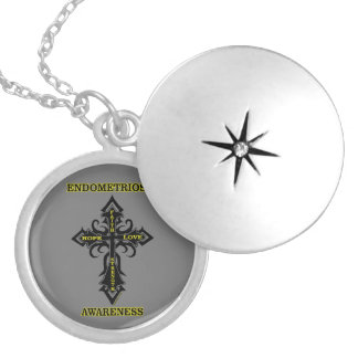 Cross/Awareness...Endometriosis Locket Necklace