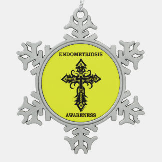 Cross/Awareness...Endometriosis Snowflake Pewter Christmas Ornament