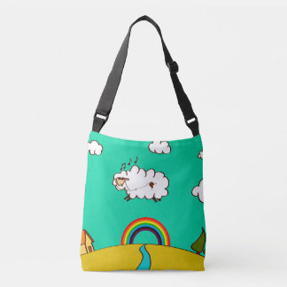 Cross Body Bag w Cool Rainbow Flying Sheep Print