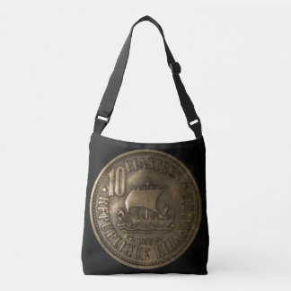 Cross Body Bag with Lebanon 10 Piasters Coin 1955
