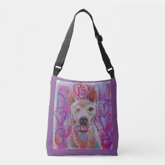 Cross body tote bag dog lover art