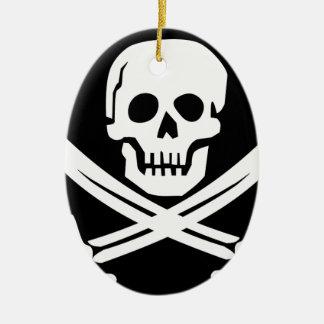Cross Bones Flag Pirate Skull Ceramic Ornament