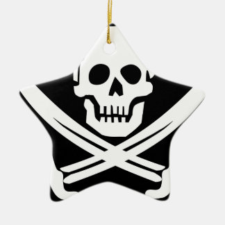 Cross Bones Flag Pirate Skull Ceramic Ornament