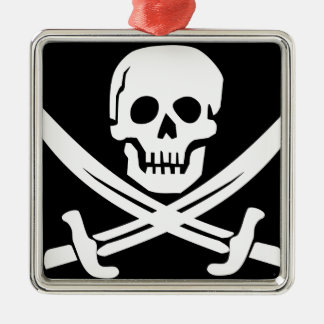 Cross Bones Flag Pirate Skull Metal Ornament