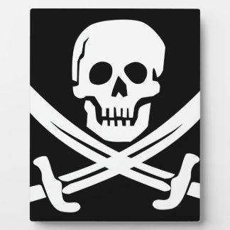 Cross Bones Flag Pirate Skull Plaque