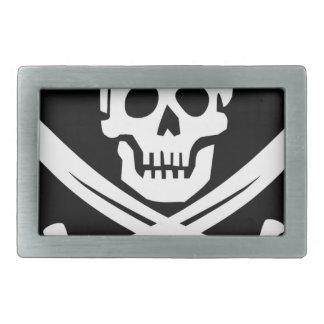 Cross Bones Flag Pirate Skull Rectangular Belt Buckle
