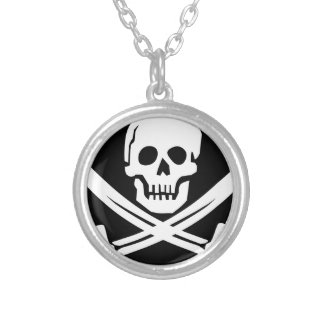 Cross Bones Flag Pirate Skull Silver Plated Necklace