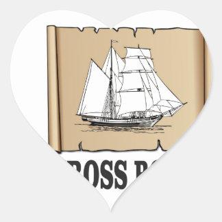 cross bones scroll heart sticker