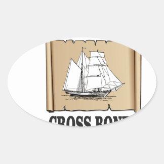 cross bones scroll oval sticker