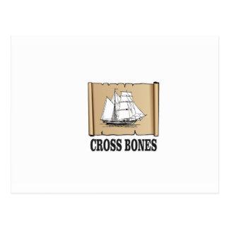 cross bones scroll postcard