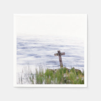 Cross by river disposable napkin