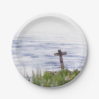 Cross by river paper plate