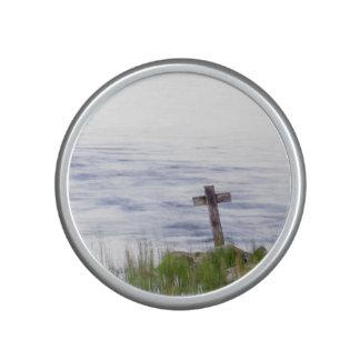 Cross by river speaker
