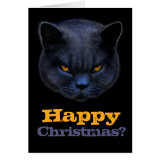 Cross Cat says Happy Christmas? Greeting Card