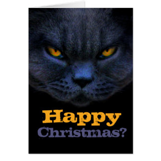 Cross Cat says Happy Christmas? Greeting Cards