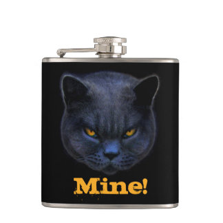 Cross Cat says Mine! Hip Flask