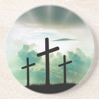 Cross Christ Faith God Jesus Clouds Sun Light Coaster