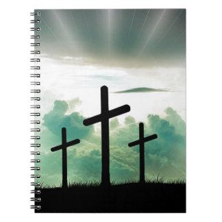 Cross Christ Faith God Jesus Clouds Sun Light Notebook