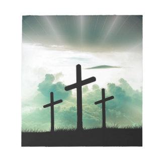 Cross Christ Faith God Jesus Clouds Sun Light Notepad