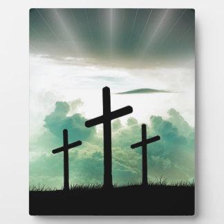 Cross Christ Faith God Jesus Clouds Sun Light Plaque