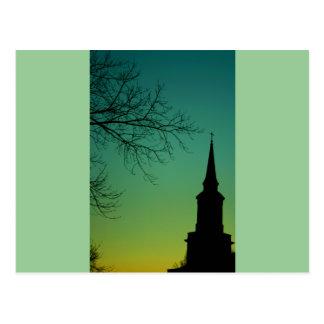 Cross Church Steeple at Twilight Postcard