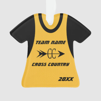 Cross Country Gold Sports Jersey with Photo Ornament