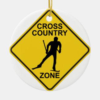Cross Country Ski Zone Round Ceramic Ornament