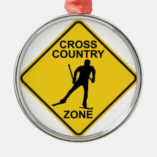 Cross Country Ski Zone Silver-Colored Round Ornament