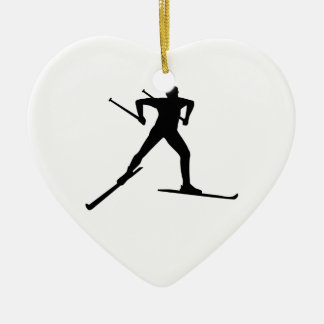 Cross country skiing ceramic ornament