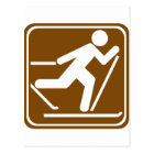 Cross Country Skiing Highway Sign Postcard