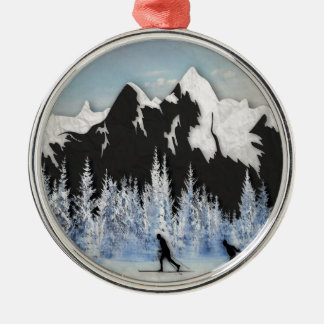 Cross Country Skiing Metal Ornament