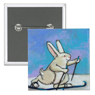 Cross Country Skiing rabbit fun cute winter art 2 Inch Square Button