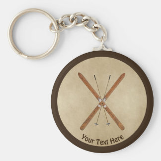 Cross-Country Skis On Old Paper Keychain