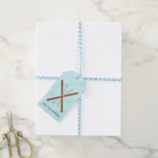 Cross-Country Skis On Snow Pack Of Gift Tags