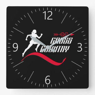 Cross country square wall clock