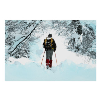 Cross Country Through Snowy Woods Poster