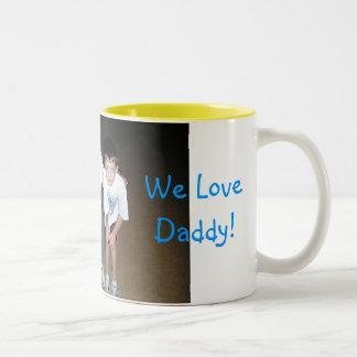 Cross Country Trip-040, We Love Daddy! Two-Tone Coffee Mug